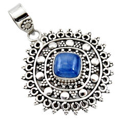 925 sterling silver 3.10cts natural blue kyanite cushion pendant jewelry r47017
