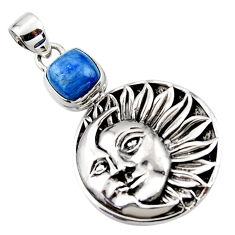 925 sterling silver 3.28cts natural blue kyanite moon face pendant r52856