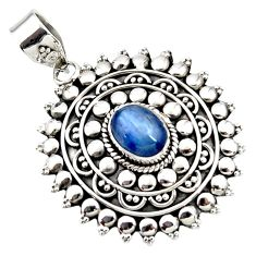 925 sterling silver 2.90cts natural blue kyanite oval boho pendant r46984