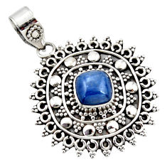 925 sterling silver 3.17cts natural blue kyanite oval boho pendant r46987