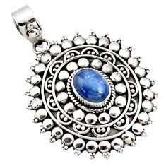 925 sterling silver 3.26cts natural blue kyanite oval boho pendant r46997