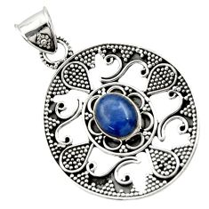Clearance Sale- 925 sterling silver 4.48cts natural blue kyanite oval pendant jewelry d45069
