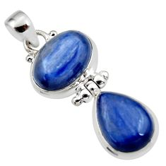 925 sterling silver 13.82cts natural blue kyanite oval pendant jewelry r46843