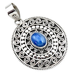925 sterling silver 3.19cts natural blue kyanite oval pendant jewelry r47013