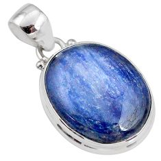 925 sterling silver 17.55cts natural blue kyanite oval pendant jewelry r64464