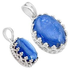 925 sterling silver 7.00cts natural blue kyanite oval pendant jewelry t20523