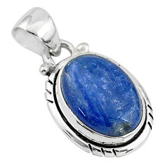 925 sterling silver 6.25cts natural blue kyanite oval handmade pendant t2183