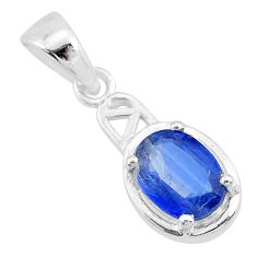 925 sterling silver 1.82cts natural blue kyanite oval pendant jewelry t7884