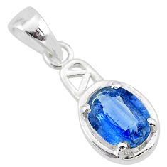 925 sterling silver 2.08cts natural blue kyanite oval pendant jewelry t7892