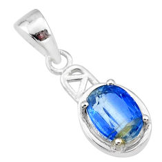 925 sterling silver 2.01cts natural blue kyanite oval pendant jewelry t7899