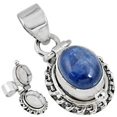 925 sterling silver 5.09cts natural blue kyanite oval poison box pendant r55613
