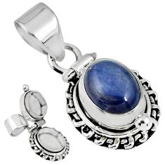 925 sterling silver 4.02cts natural blue kyanite oval poison box pendant r55615