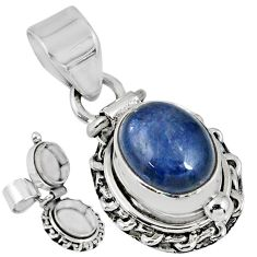 925 sterling silver 4.21cts natural blue kyanite oval poison box pendant r55617