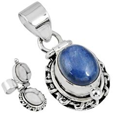 925 sterling silver 4.38cts natural blue kyanite oval poison box pendant r55618