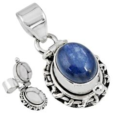 925 sterling silver 4.38cts natural blue kyanite oval poison box pendant r55619