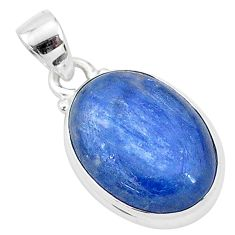 925 sterling silver 11.17cts natural blue kyanite oval shape pendant t4153