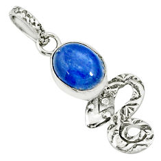925 sterling silver 3.93cts natural blue kyanite oval snake pendant r78451