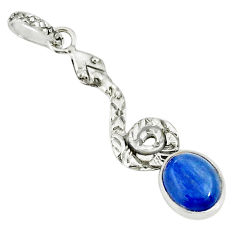 925 sterling silver 3.93cts natural blue kyanite oval snake pendant r78485