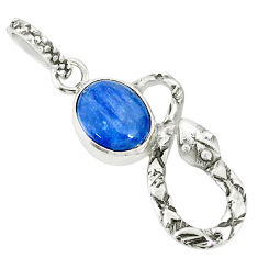 925 sterling silver 3.98cts natural blue kyanite oval snake pendant r78549