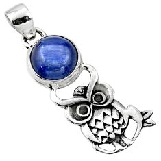 925 sterling silver 5.38cts natural blue kyanite owl pendant jewelry r52918