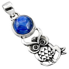 925 sterling silver 5.38cts natural blue kyanite owl pendant jewelry r52938