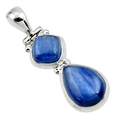 925 sterling silver 9.31cts natural blue kyanite pear pendant jewelry r46871