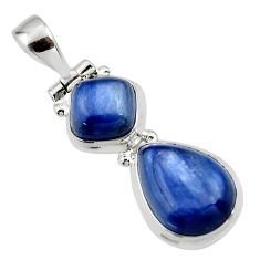 925 sterling silver 9.27cts natural blue kyanite pear pendant jewelry r46874