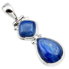925 sterling silver 9.20cts natural blue kyanite pear pendant jewelry r46880