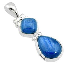 925 sterling silver 10.81cts natural blue kyanite pear pendant jewelry t10693