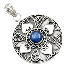 Clearance Sale- 925 sterling silver 3.16cts natural blue kyanite round pendant jewelry d45066