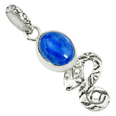 925 sterling silver 3.91cts natural blue kyanite snake pendant jewelry r78454