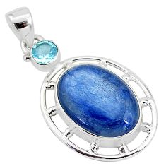 925 sterling silver 13.27cts natural blue kyanite topaz pendant jewelry t2631