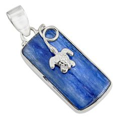 Clearance Sale- 925 sterling silver 20.88cts natural blue kyanite turtle pendant jewelry d42664