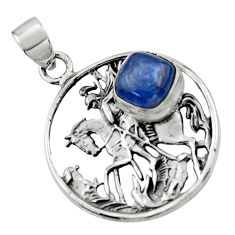 925 sterling silver 3.17cts natural blue kyanite unicorn pendant jewelry r52760