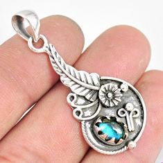 925 sterling silver 2.24cts natural blue labradorite flower pendant r77840