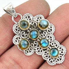 925 sterling silver 5.43cts natural blue labradorite holy cross pendant r20815