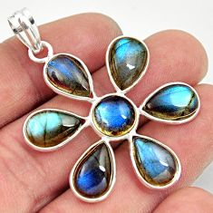 925 sterling silver 18.12cts natural blue labradorite holy cross pendant r35193