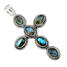 925 sterling silver 9.64cts natural blue labradorite holy cross pendant r47996