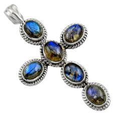 925 sterling silver 12.58cts natural blue labradorite holy cross pendant r48018