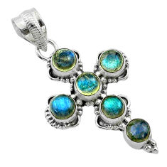 925 sterling silver 5.38cts natural blue labradorite holy cross pendant t52980