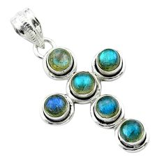 925 sterling silver 5.53cts natural blue labradorite holy cross pendant t52991