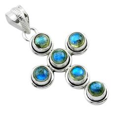 925 sterling silver 5.76cts natural blue labradorite holy cross pendant t52997