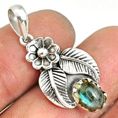 925 sterling silver 1.96cts natural blue labradorite oval flower pendant r77758