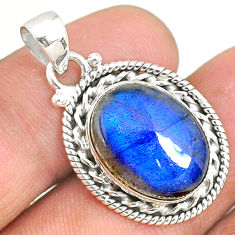 925 sterling silver 9.82cts natural blue labradorite oval pendant jewelry r77512
