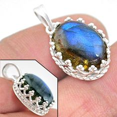 925 sterling silver 6.28cts natural blue labradorite oval pendant jewelry t20459