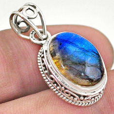 925 sterling silver 5.45cts natural blue labradorite oval pendant jewelry t46748