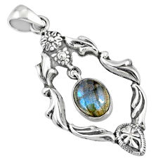 925 sterling silver 4.17cts natural blue labradorite oval pendant r67564
