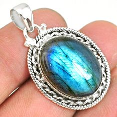 925 sterling silver 18.65cts natural blue labradorite oval pendant r77519
