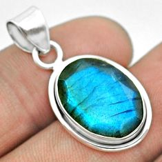 925 sterling silver 8.75cts natural blue labradorite oval pendant t53606