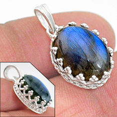925 sterling silver 6.64cts natural blue labradorite oval shape pendant t20453